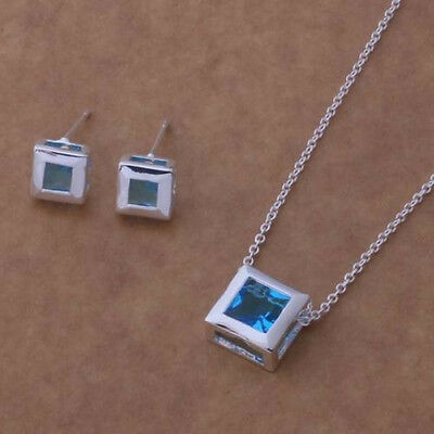 Wholesale Cheap Jewelry Solid 925Silver Necklace Bracelet Ring Earring Sets+Box