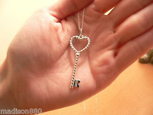 Tiffany co sterling silver twist heart key necklace pendant charm image is loading tiffany co sterling silver twist heart key necklace aloadofball Image collections