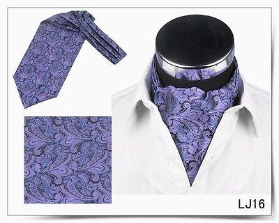 Men Wedding Formal Cravat Ascot Scrunch Self Neck Tie Purple Black Paisley