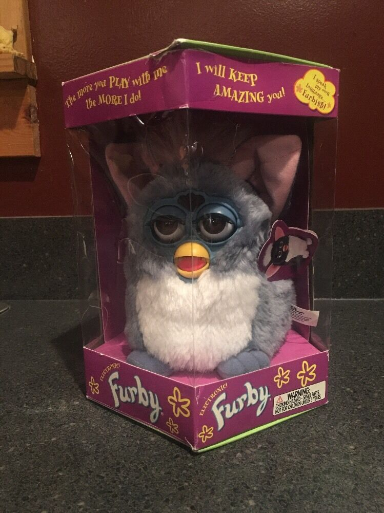 Furby Tiger Electronics 1999 bluee And White White White With Pink Ears 145220