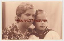 (F12296) Orig. Foto Porträt junge Frau mit Junge, Kiel 1936