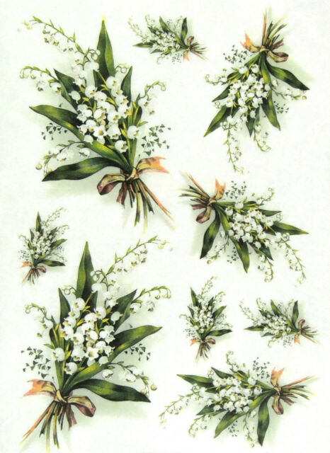 Rice Paper for Decoupage, Scrapbook Sheet, Craft Lily of the Valley