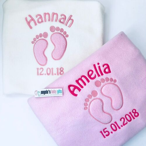 Personalised Fluffy Feet Baby Girl Blanket White Cream Pink Name Date