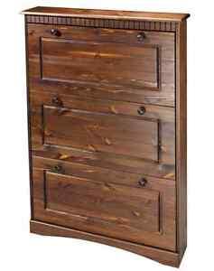 schuhschrank massiv kiefer mit 3 klappen schrank neu ebay. Black Bedroom Furniture Sets. Home Design Ideas