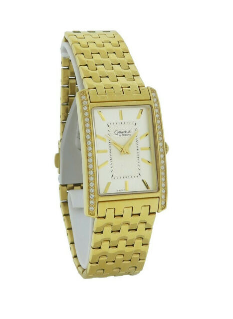 Caravelle by Bulova 44L107 Women s Rectangular Clear Stones Silver Tone  Watch fa3a7a8ba6