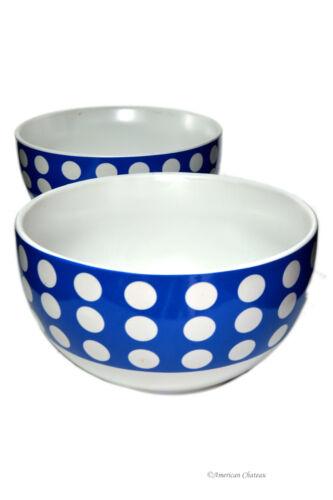 Lot 2 Bleu /& Blanc Pois Large 23 oz en Porcelaine Soupe Céréales Bols environ 652.03 g