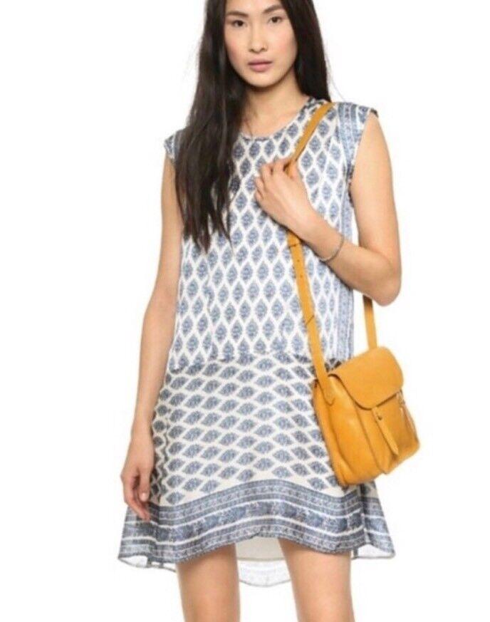 Madewell Diamond Floral Skyscape Cap Sleeved Dress Sz XXS Runs Big