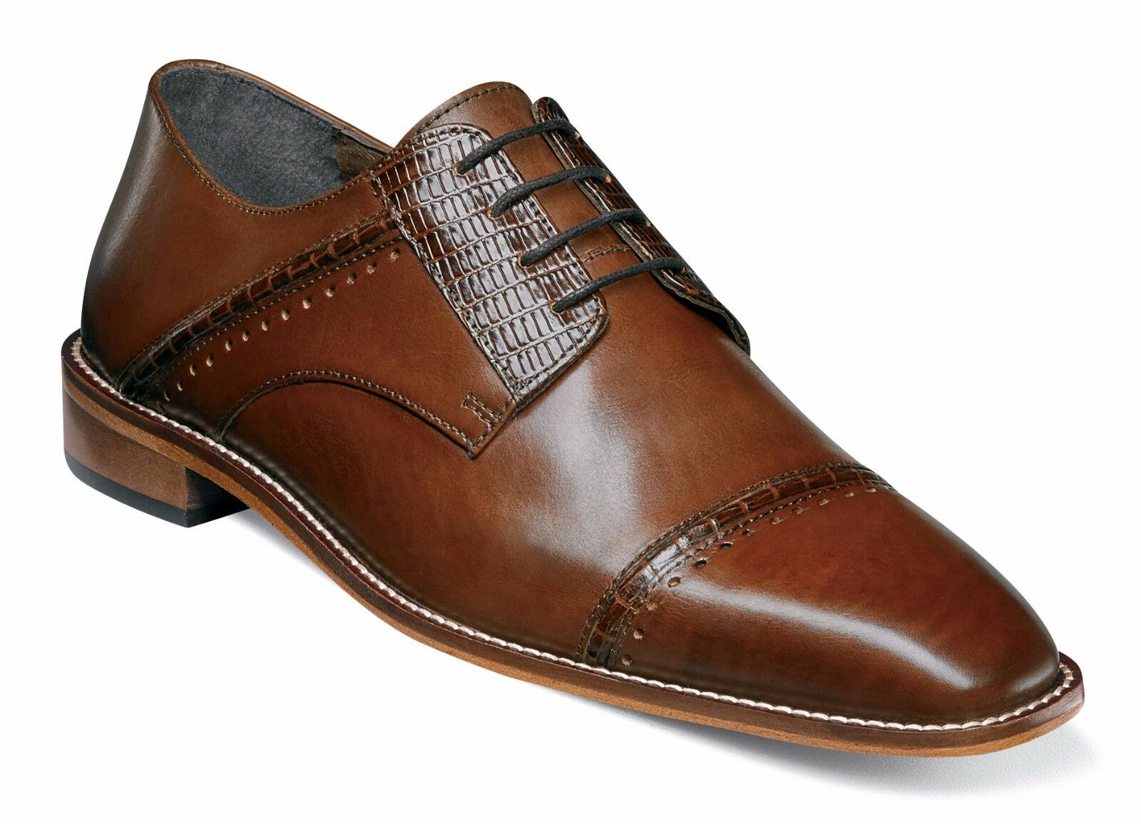 Stacy Adams Hombre Coñac Ryland Gorra Punta Oxford Zapatos con Cordones