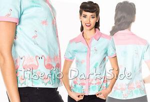 Banned-Going-My-Way-Turquesa-y-Rosa-Flamenco-Pin-Up-Retro-Vintage-Blusa-Camisa