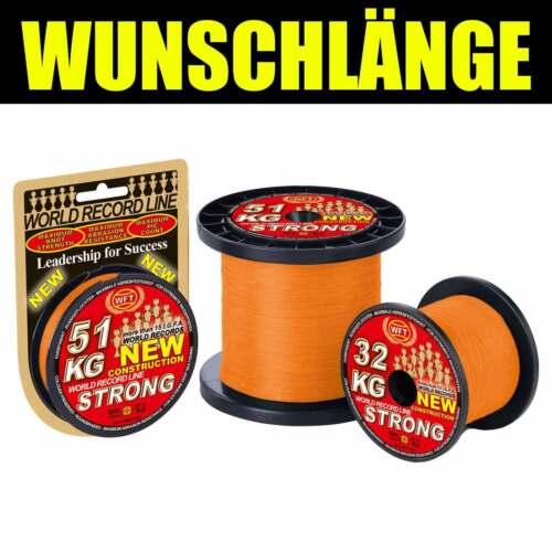 WFT Angelschnur geflochten KG Strong Orange 39Kg 0,25   JE 25m 0,24EUR//m