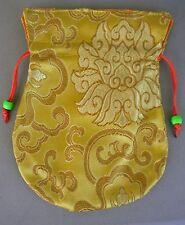 Embroidered Silk Prayer Bead Mala Bag GOLD w/ Drawstring
