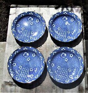 "TAKAHASHI  San Francisco VTG  PORCELAIN BLUE AND WHITE PLATES*MADE IN JAPAN*4.5"""