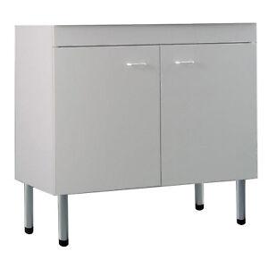 Dettagli su Sottolavello cucina mobile bianco100x50 cm con 2 ante per  lavelli in acciaio
