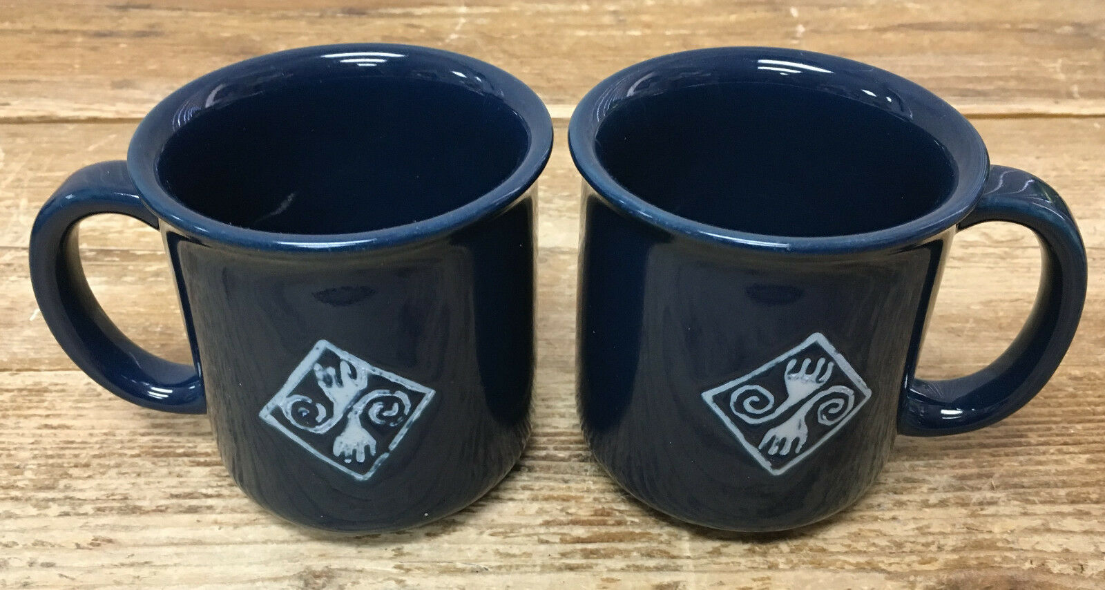 2 Tazze da Caffè Crown Corning Prego Native Collection Navy Blu Cobalto Giappone