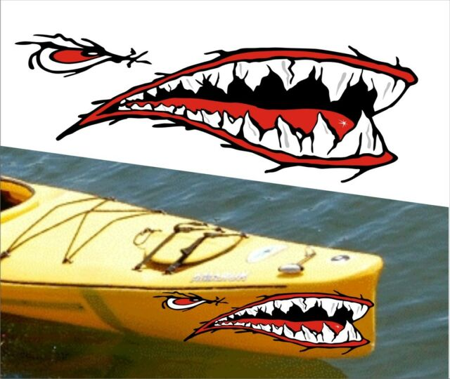 SHARK TEETH MOUTH DECAL STICKERS KAYAK CANOE JET SKI HOBIE DAGGER OCEAN boat 023