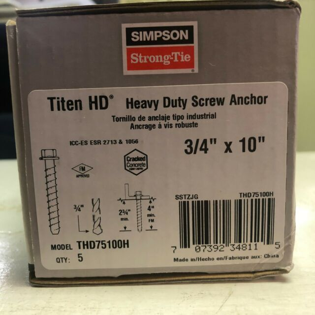 "5PK Simpson Strong-Tie Titen HD Screw Anchors 3//4 x 10/"" THD75100H"