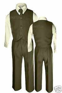Baby Boys Toddler Wedding Formal Party Vest Suits Sets Olive Green Sz: 12m- 4yrs