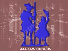 Pegatina Don Quijote y Sancho Panza 3D Relieve - Color Azul