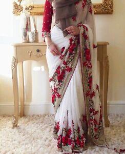 Saree-Indian-Designer-Sari-Work-Blouse-Pakistani-Wedding-Bollywood-Bridal-Wear