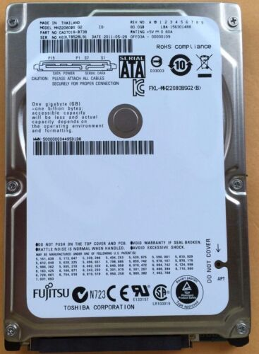 """Fujitsu MHZ2080BS 80GB 5.4K 2.5/"""" SATA HARD DRIVE"""