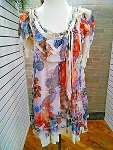 Pretty-Angel-NWT-floral-chiffon-sleeveless-top-womens-ivory-coral-Boutique-S-M