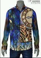 Mondo Exclusive Fashion Men L/sleeve Shirt Fitted Digital Print Multicolor Lion