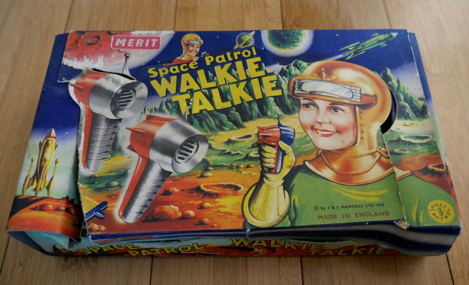 Merit SPACE PATROL Walkie Talkie Giocattolo Set 1955 rara in scatola Dan osare era