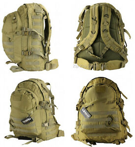 Army-Combat-Military-Special-Ops-Molle-Rucksack-Backpack-Day-Pack-Bag-45L-Desert