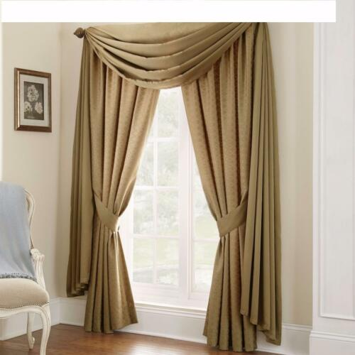 WATERFORD LINENS HEIRESS TOP WINDOW DRAPES & TIEBACKS PAIR MINERAL