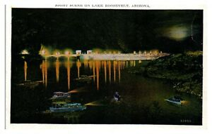Night-Scene-on-Lake-Roosevelt-AZ-Postcard-5N31