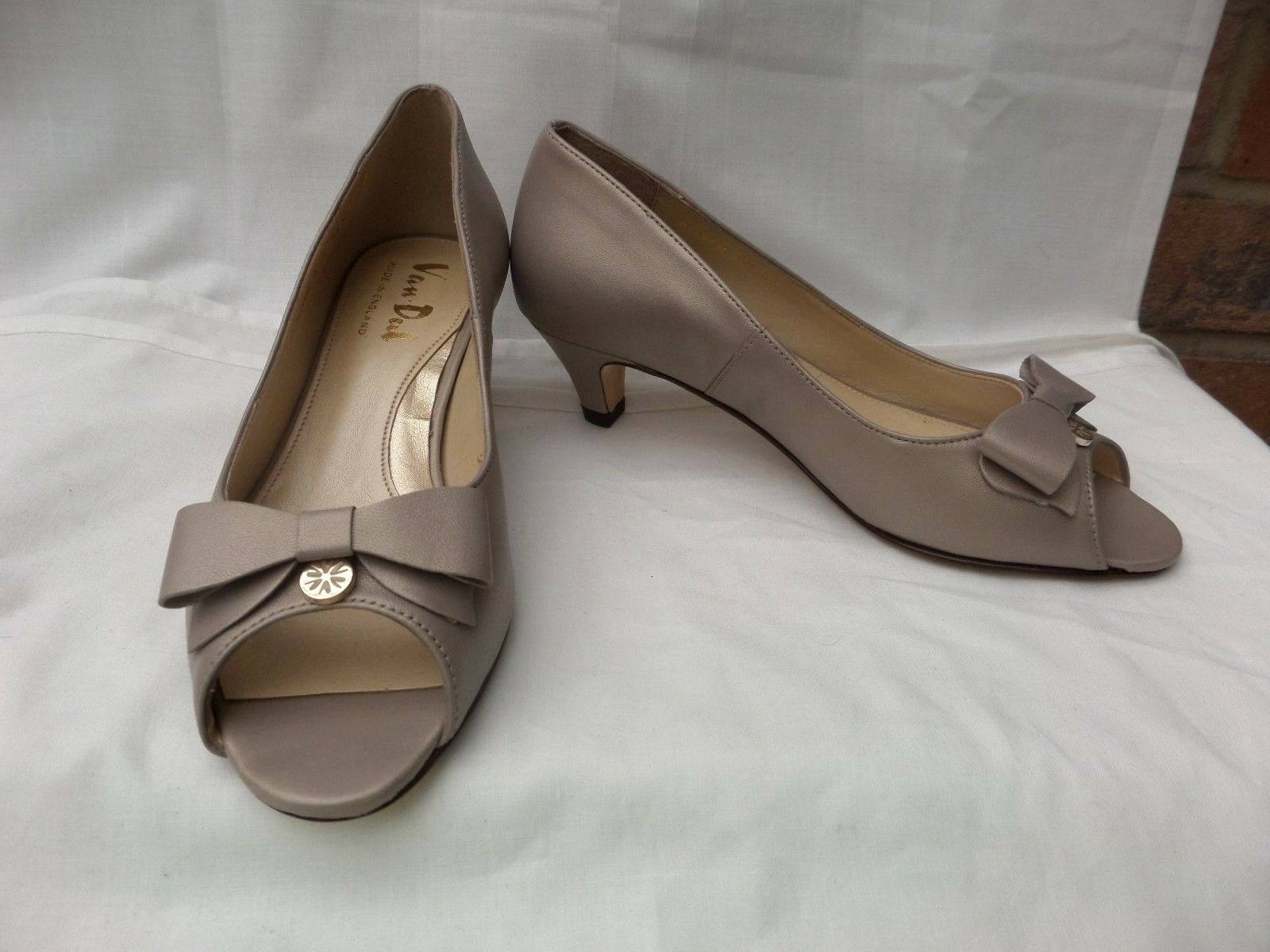 "VAN DAL Belton UK 3 / 36 Almond Prisd Beige leather court shoes  2"" heels New"