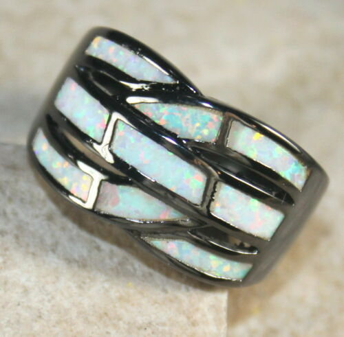 WR40401 BLACK SILVER Elegant White Fire Opal Big Ring Size 10