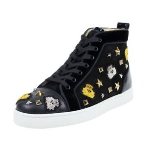 dc38e6de3f1 Details about NIB CHRISTIAN LOUBOUTION 'Loubacademia' Black Suede Hi-Top  Sneakers Shoes 6/39