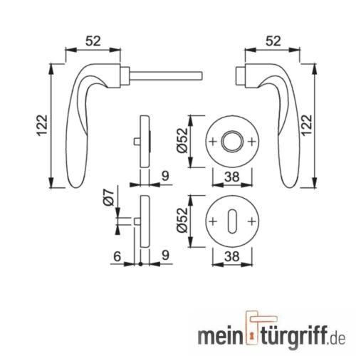 Hoppe Türdrücker Verona Rosette BB Messing F49-R Drückergarnitur M151//42KV//42KVS