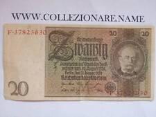 BANKNOTE BANCONOTA 20 REICHSMARK SVANZIH 1929 3° REICH  (G1-9) (E)