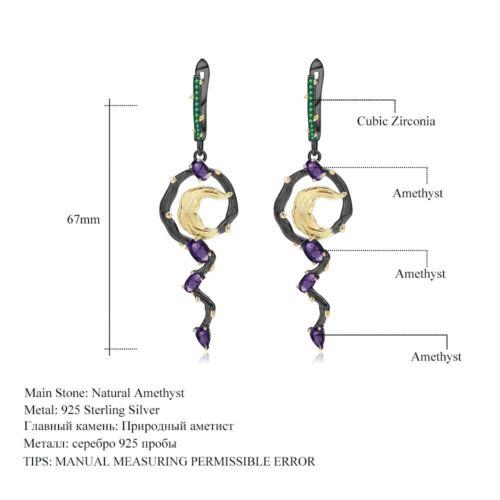 Natural 2.36Ct Amethyst Handmade Solid 925 Sterling Silver Vintage Drop Earrings