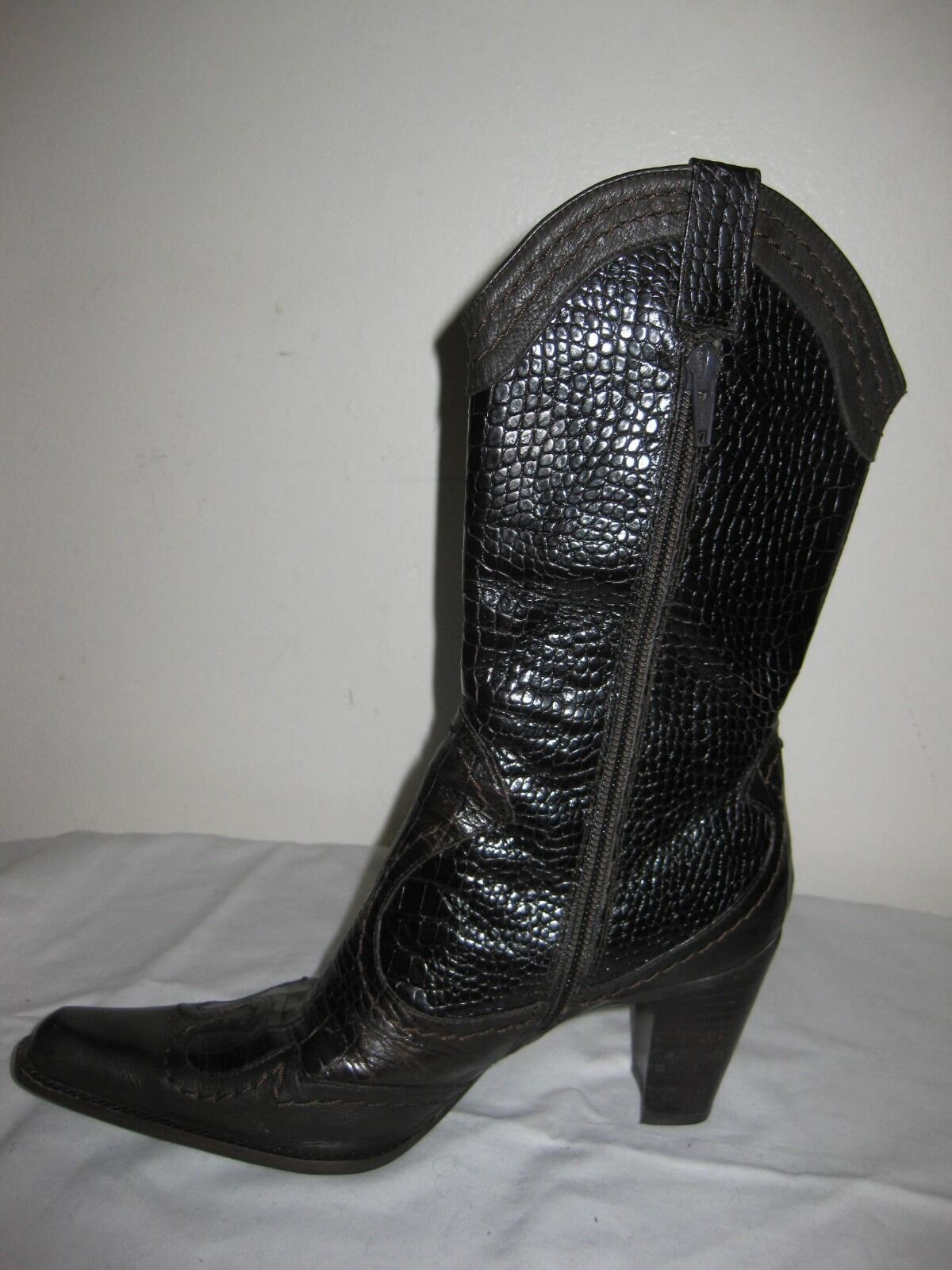Stuart Weitzman Preston Sz Brown Croco  Cowboy Western Leather Boots Shoes Sz Preston 5.5M 0bace0
