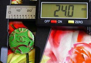 100-Chanel-button-1-button-size-1-inch-24-mm-logo-CC-green-metal