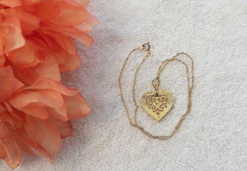 NECKLACE HEART VICTORIAN LOVE CHAIN PENDANT WEAVE ROMANCE FILIGREE LATTICE #112