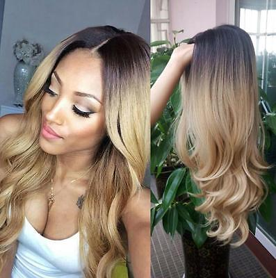 Ladies Blonde Ombre Hair Full Wig Fashion Style Black Root Long Curly Wigs T