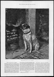 1881-FINE-ART-Antique-Print-PLEASURES-of-HOPE-Mastiff-Dog-Fire-Side-107
