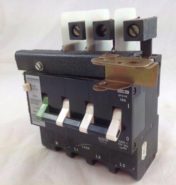 Heinemann Heinelec SF36AE CBI Circuit Breaker RCD 4 Pole 10A 6kA 415V AC 2 Curve
