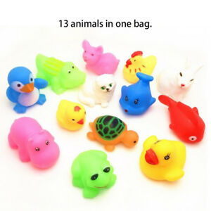 13pcs Baby Bath Toys Squeaky Rubber Animal Floating Water Children Kids Toy Gift