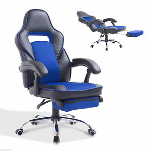 HOMCOM Race Car Style Gaming Chair PU Leather Swivel Recliner Office Seat