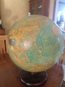 Globe-terrestre-Anglais-Marque-Philips-Gros-Globe-Milieu-20e