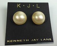 Kenneth Jay Lane White Large Round Stud Earrings