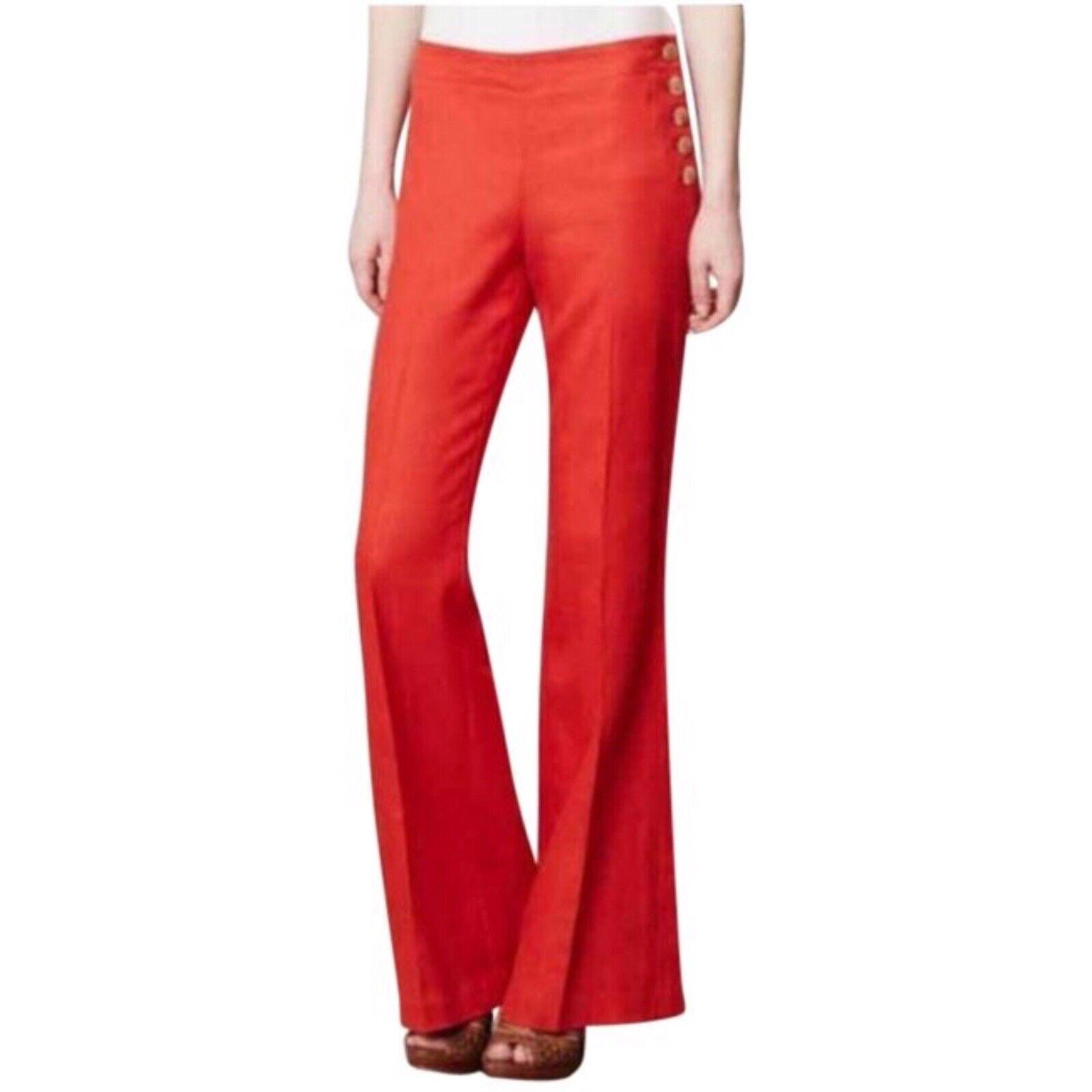 Anthropologie Women's Red Elevenses Edisto Linen pants Size 4