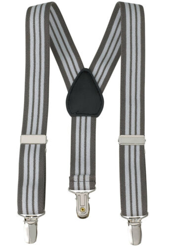 """Made in USA New 1"""" Grey Striped Suspenders Baby Kids Boys Elastic Adjustable"""