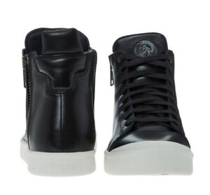 Leather High Tops Black Shoes Size UK