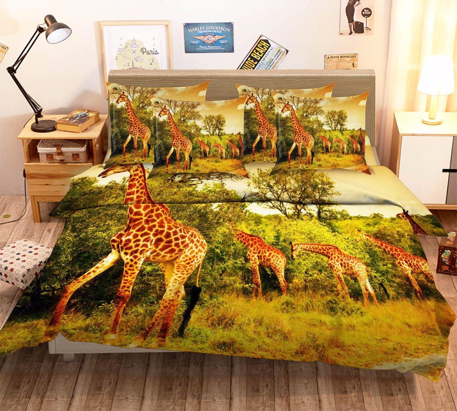 3D Forest Giraffe 5 Bed Pillowcases Quilt Duvet Cover Set Single Queen King AU